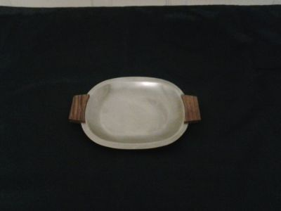 Stainless Steel & Wood Serving Tray