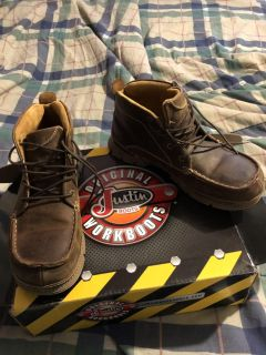 New men s size 11 1/2 Justin steel toe work boots.