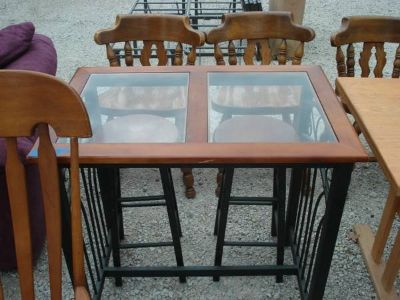 pub table with 2 stools