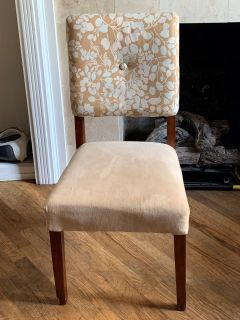 Chair - Taupe/Blue with Terry Back - Like New