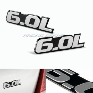 Purchase 2x Universal Silver 6.0L Engine Black Border Aluminum Emblem Decal Sticker Badge motorcycle in Walnut, California, United States
