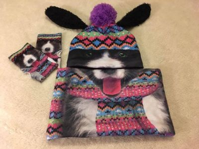 Justice brand doggie fleece lined hat, sherpa like lined neck warmer and gloves