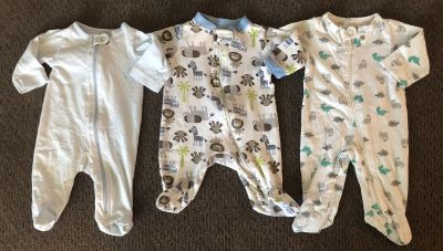 3 Footed Onesies size Newborn. Smoke/Pet free home. Price for ALL.