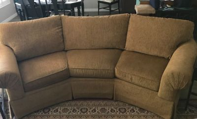 Bassett curved back couch and two side chairs