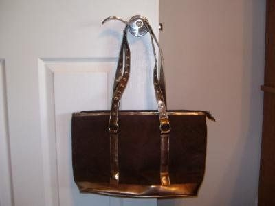 Brown and bronze suede purse