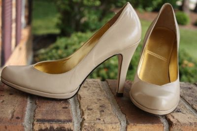 Womens TAHARI Lolly Pumps Heels Shoes Leather Beige Size 8M