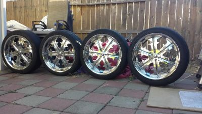 """22""""rims for sale new tires 6lug universal with all 4 center caps!!"""