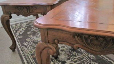 Very pretty , large size wood end tables - sell as pair for $75