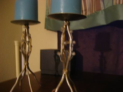 2 Silver Tone Branch Bead Candle Holders 8""