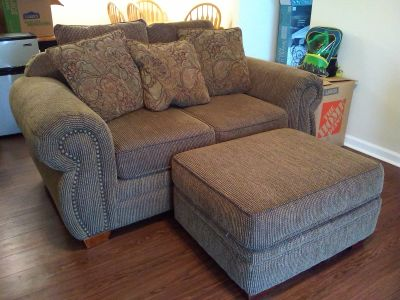 Loveseat and Matching Ottoman