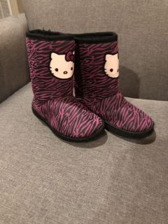 Hello Kitty pink and black boots size 12