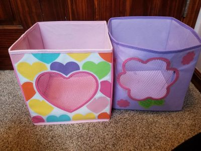 2 square canvas toy buckets 12x12