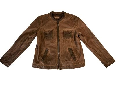 Yessica Brown Leather Zippered Women's Jacket 44