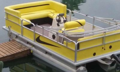 PONTOON BOAT 2004 sun tracker 17.5 footer ELECTRIC POWERED pontoon boat FOR resi