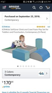 ECR4Kids SoftZone Climb and Crawl Foam Play Set for Toddlers and Preschoolers, Contemporary (5-Piece)