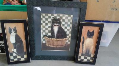 Set of 3 wood frames cat pictures 16 x 19 and two smaller ones size 7x 14 $7 for set