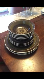 Green/Brown plate, saucer and bowl set