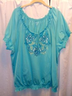 Blue Peasant Style T-Shirt, size 2X