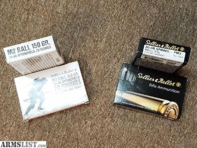 For Sale: 30-06 Sprg - 150 gr M2 Ball FMJ - M1 Garand - Sellier & Bellot - 20 Rounds