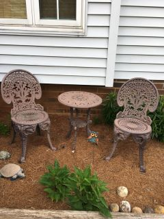 """WROUGHT IRON - 3 PIECE SET - CHAIRS APPROX 31"""" TALLTABLE APPROX 22"""" TALLSEAT 14"""" ACROSS SEATTABLE TOP 18"""" ACROSSVERY HEAVY"""