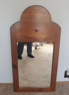 Vintage Dresser or Wall Mirror Solid Pine Wood Frame 20 x 39 inches Custom Handmade