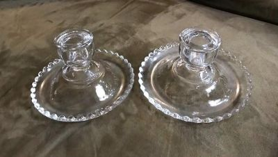 Vintage Imperial Glass Candlewick Rimmed Single Light Candlestick Holders Pair
