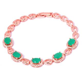 New - Emerald Quartz Rose Gold Filled Bracelet