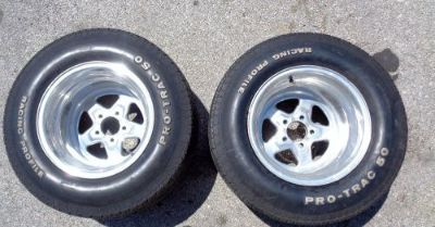 Sell Ford Mopar 15x12 Drag Star Race Wheels w/ Pro Trac 50 Tires Rims Pair J6944 motorcycle in Keller, Texas, United States, for US $325.00