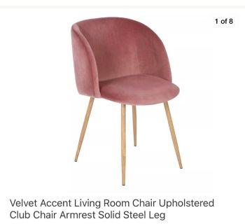 Rose velvet accent chair