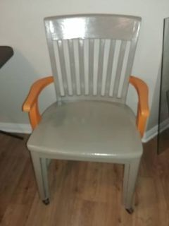 Retro Gray and Orange Wood Arm Chair on Casters