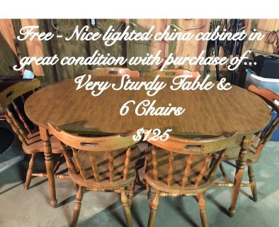 Dinette set and free china cabinet with purchase only.