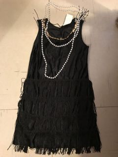 Child s Costume! Little Girls 6-8 Flapper dress with pearls Like New!