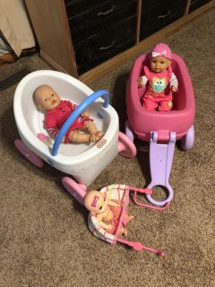 Baby Doll Lot with stroller, wagon, and high chair