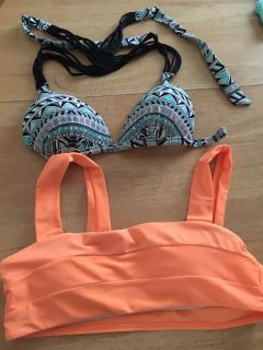 2 small bathing suit tops