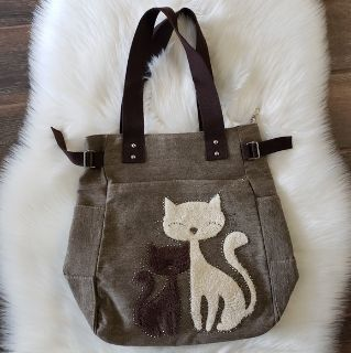 NWOT Canvas Cat Shoulder Bag