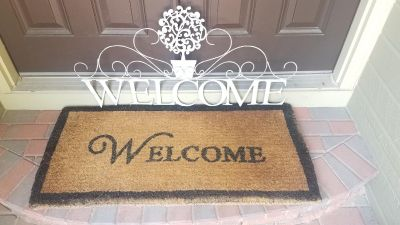 Welcome Mat and Metal Welcome Sign