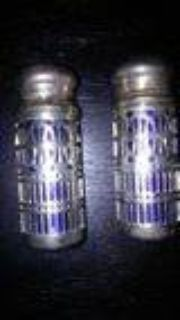 COBALT BLUE AND SILVER PLATED SALT AND PEPPER SHAKERS U.K.