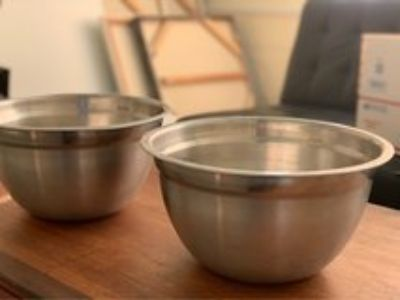 Large platter 3 pasta bowls and two large stainless steel bowls