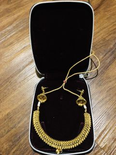 Gold plated necklace and matching earring set