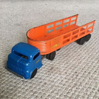 Vintage 1950s Structo Toys Overland Freight Lines Pressed Steel Truck & Trailer