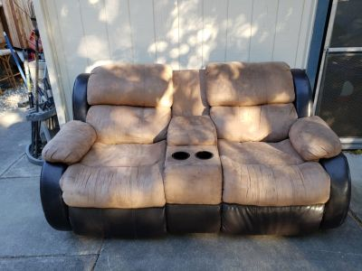 Love seat with dual recliners built I
