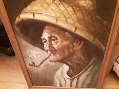 Beautiful Vintage Painting of Old Man and his Pipe signed