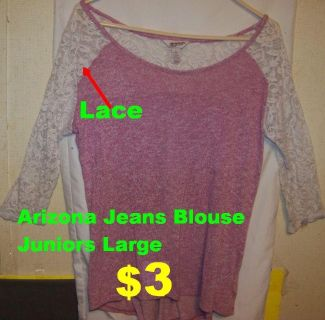 Arizona Jeans Blouse with Lace Sleeves Juniors Large IN PERFECT CONDITION