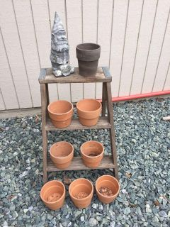 Vintage ladder , flower pots and cement gnome