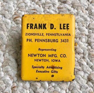Vintage Metal Advertising Paper Clip Clamp - Frank D. Lee - Zionsville Pennsburg - RARE!!