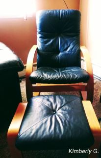 Black leather chair & foot stool