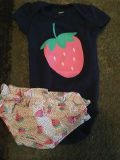 Carters 3m navy strawberry onesie & bloomers - ppu (near old chemstrand & 29) or PU @ the Marcus Pointe Thrift Store (on W st)