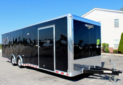 2019 28' Black Enclosed Car Trailer Red Cabinets