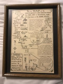 Rare Vintage Antique Framed Ames, IA to Hackensack, MN Route Map The Adams Route Print Photo