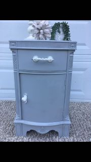 Gray antique vintage night stand farmhouse refurbished